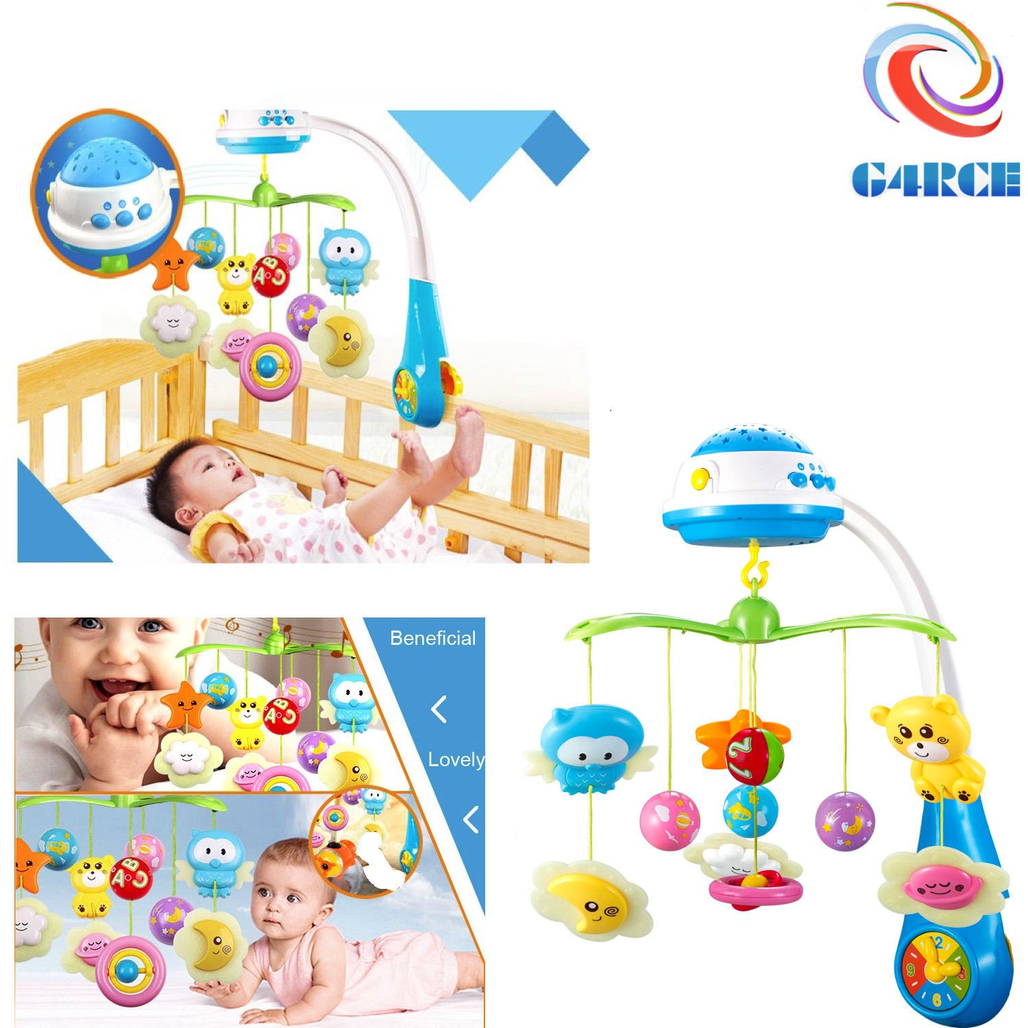 Baby Newborn Soft Musical Bed Cot Crib Buggy Car Mobile Stars Dreams Projection Nursery Lullaby Toys UK Generic