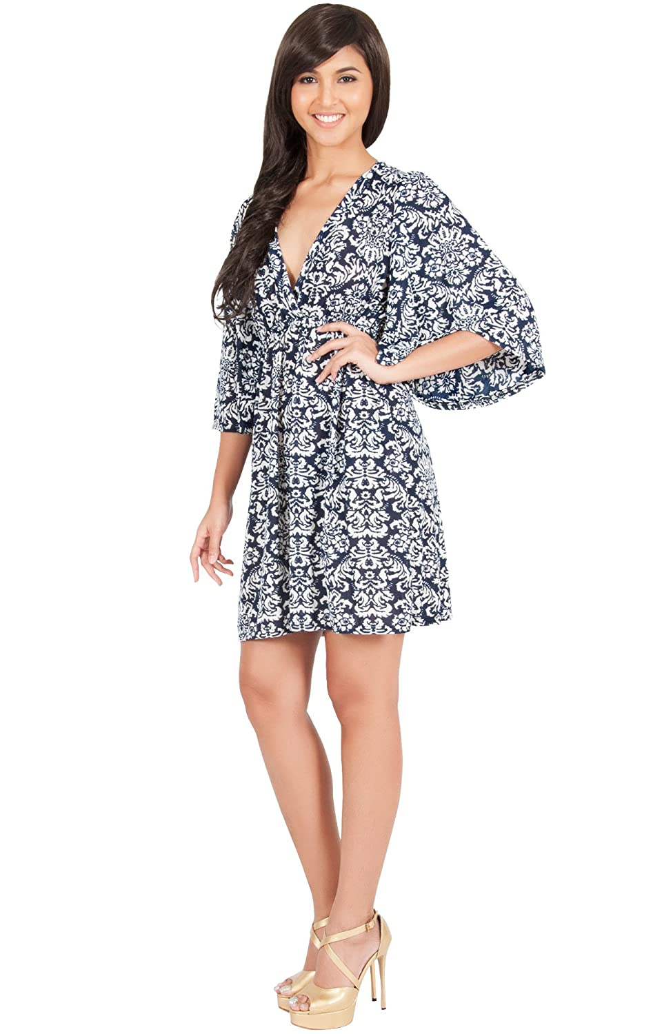 KOH KOH Womens Long Kimono Sleeve Printed V-Neck Floral Casual Short Mini  Dress at Amazon Women s Clothing store  cf169f8cc