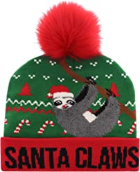 7cf1d81fc097cf Santa Claws Sloth Beanie Hat with Led Lights and Pom