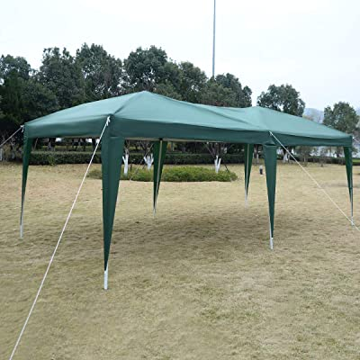 Green 10' x 20' POP UP Folding Wedding Party Tent Cross-Bar Home Garden Lawn Living Outdoors Structures Canopies Shade Yard Awnings Marquees, Tents, Baldachin, Baldaquin, Balcony, Backyard, Patio. : Garden & Outdoor