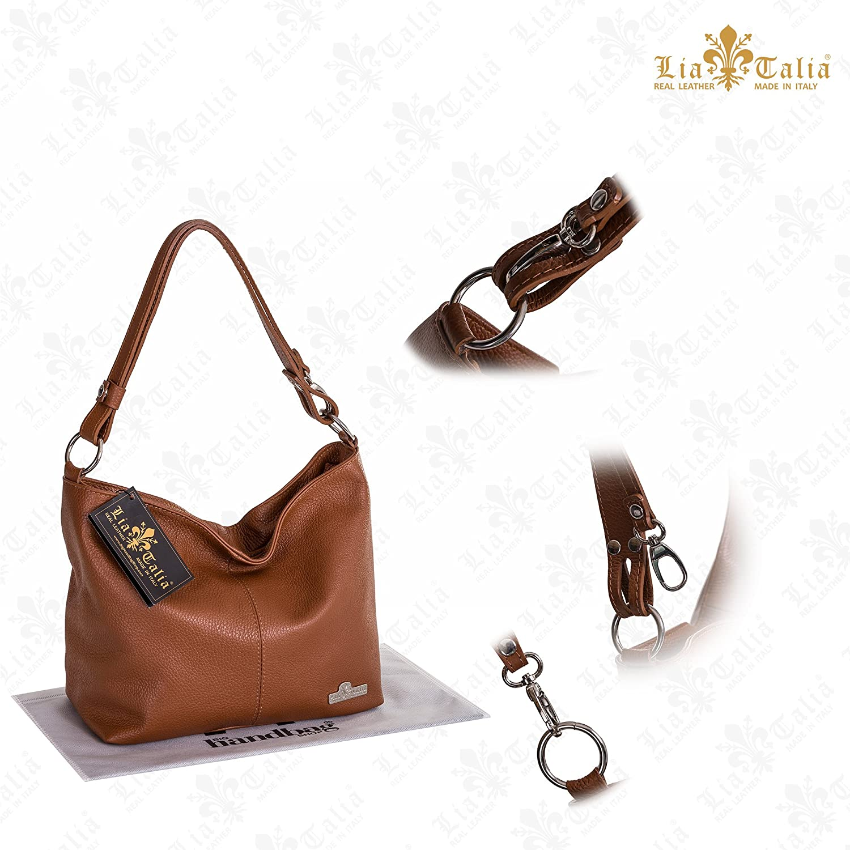 076b714c93 Amazon.com  LIATALIA Womens Genuine Italian Leather Adjustable Strap Medium  Sized Shoulder Hobo Bag - EMMY  Black   Shoes