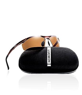 a9defa0a6a LUOMON Men s Polarized Wrap-Around Sport Sunglasses Al-Mg Aloy Brown Frame  Brown