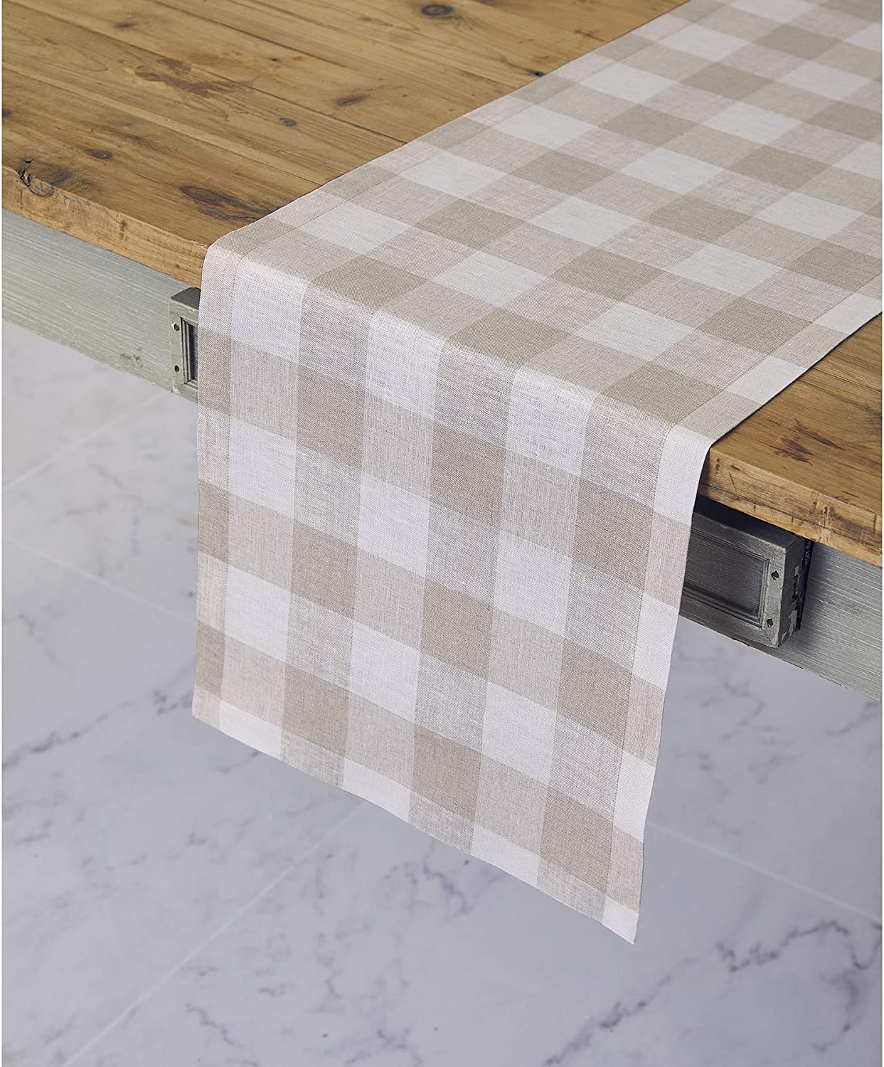 Solino Home 100% Pure Linen Buffalo Check Table Runner – 14 x 36 Inch Natural & White Checks Table Runner Natural Fabric Handcrafted from European Flax