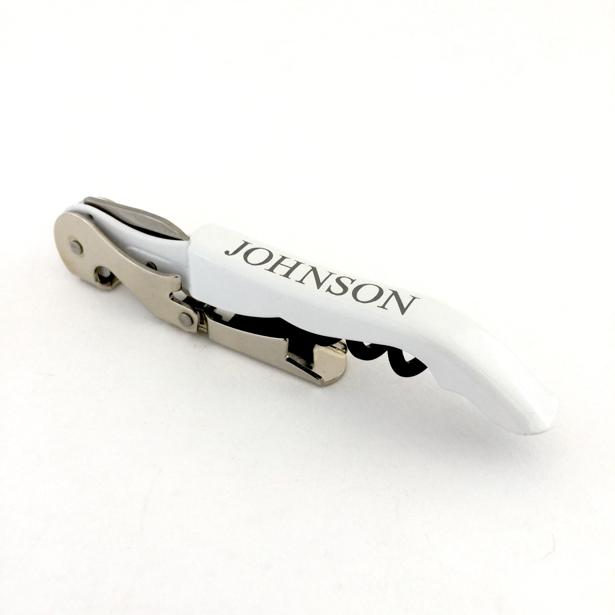 The Personal Exchange Personalized White Double Hinged Wine Opener Wedding Party Favor