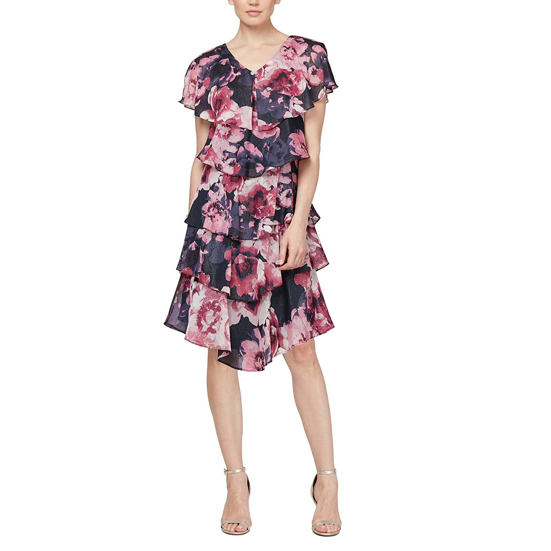 9a5deb5cb2a89 SL Fashions Women's Pebble Tier Dress (Petite and Regular Sizes)