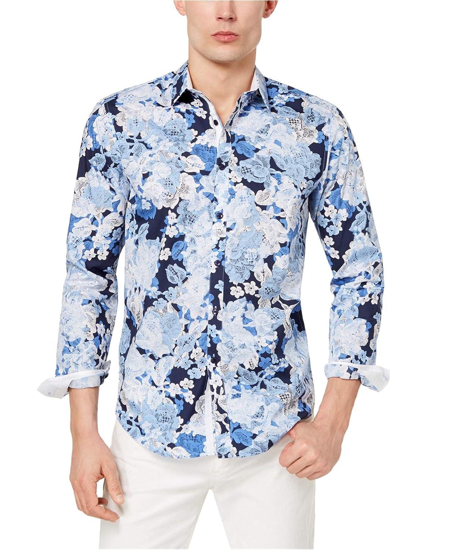 Blue Large I-N-C Mens Floral Button Up Shirt