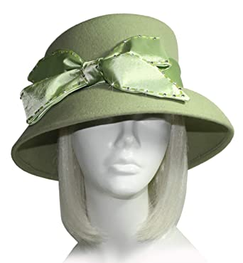 f7ad4724c2a8a Mr. Song Millinery Soft-As-Cashmere Felt Bucket Hat with Bow - Sage ...