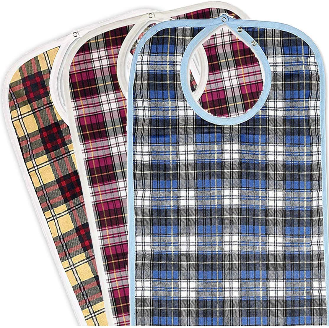 Medokare Adult Bib Clothing Protector - 3 Pack Long Washable Reusable Bibs for Seniors for Eating at Mealtime, Waterproof Stain Resistant Bibs for Elderly: Health & Personal Care