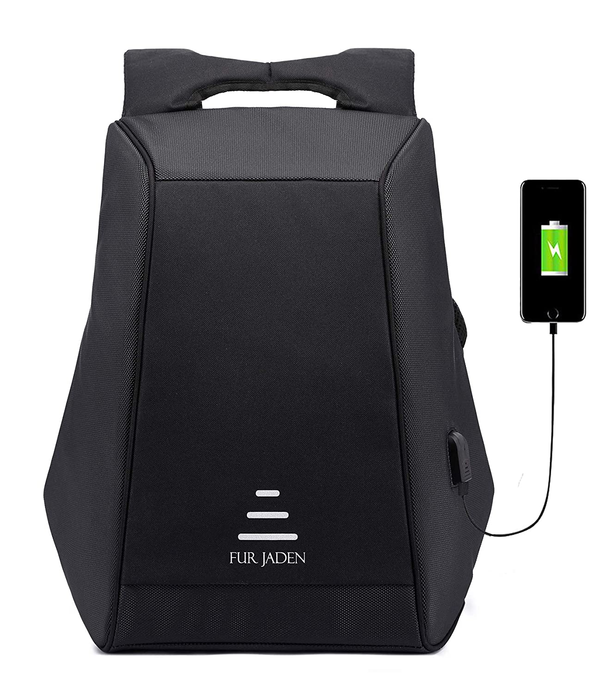 FUR JADEN Anti Theft Waterproof Laptop Backpack with USB Charging Port