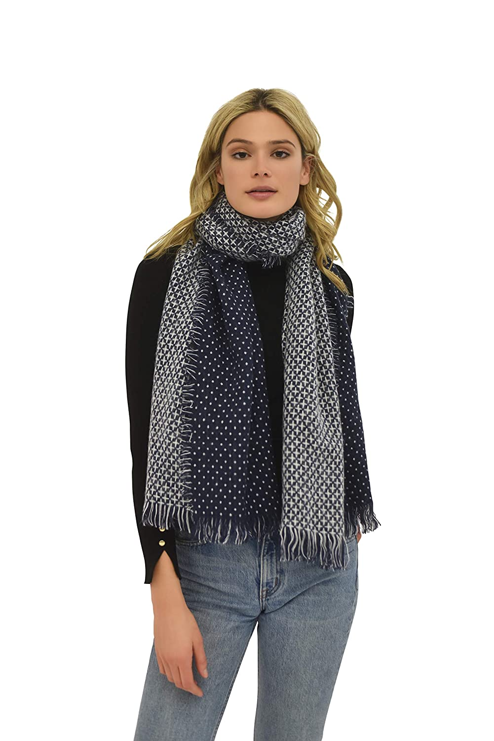 Cold Weather Scarf bluee and White Polka Dot Print