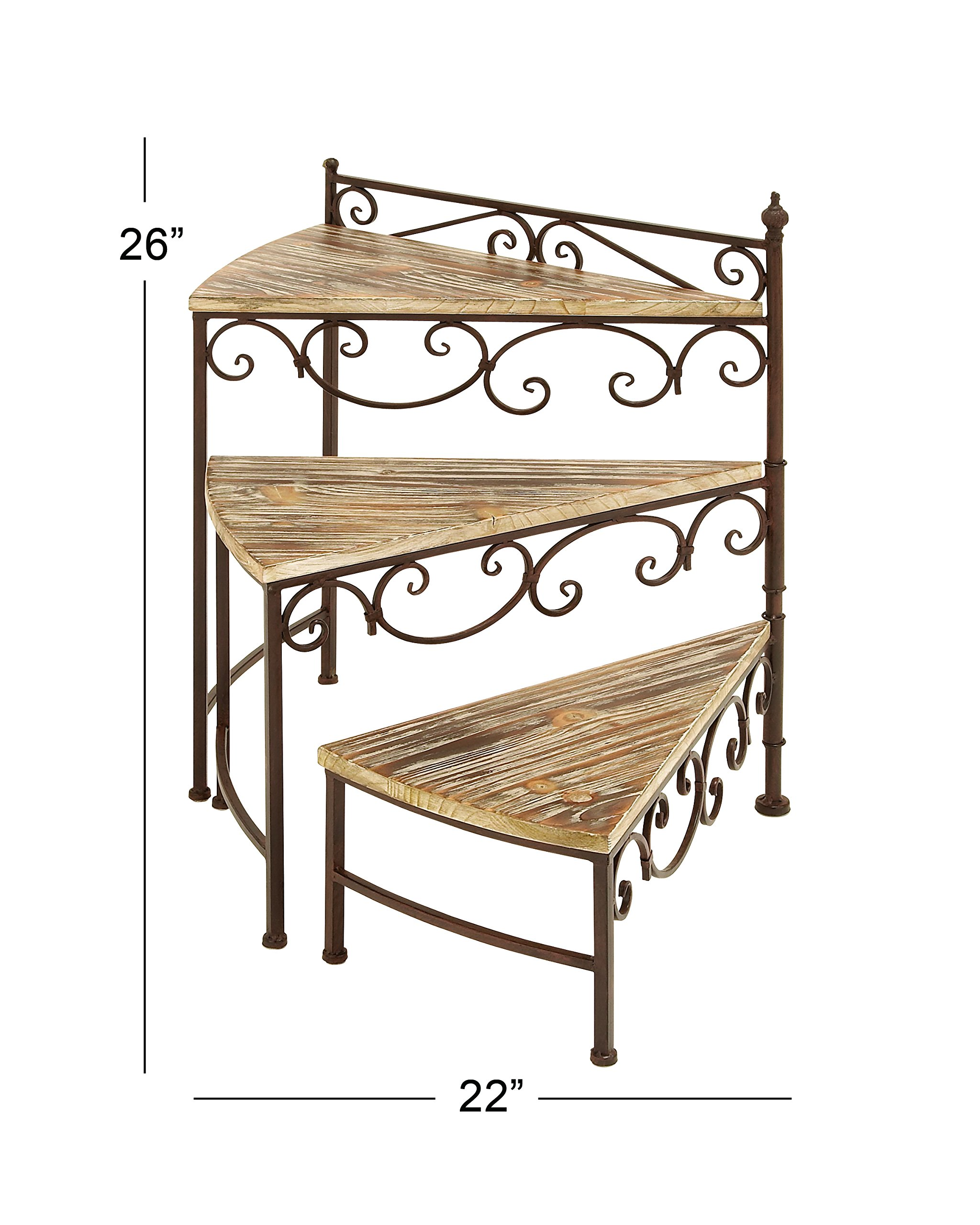 Deco 79 66552 Metal/Wood Rotating Stair Step Planter Stand, 22 by 26-Inch by Deco 79