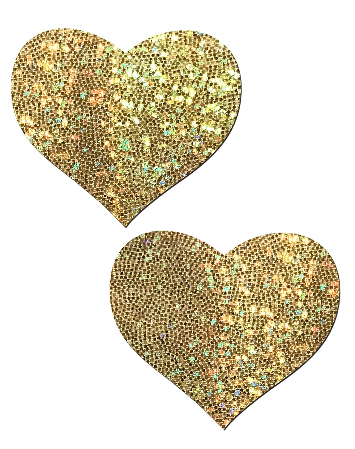 Gold Glitter Heart Nipple Pasties by Pastease o/s HRT-GLT-GL