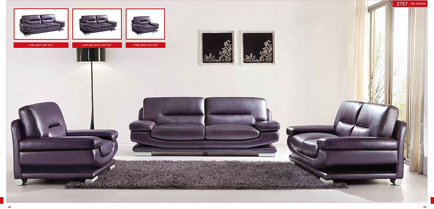 Amazon.com: ESF Modern 2757 Full Purple Italian Leather Sofa Set ...