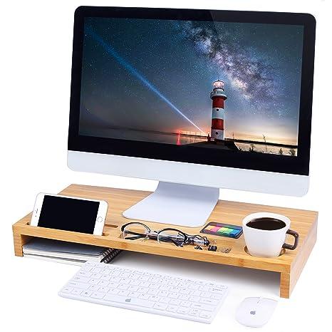 Elevador de Monitor del ordenador soporte, soporte para portátil de sobremesa, teclado con espacio