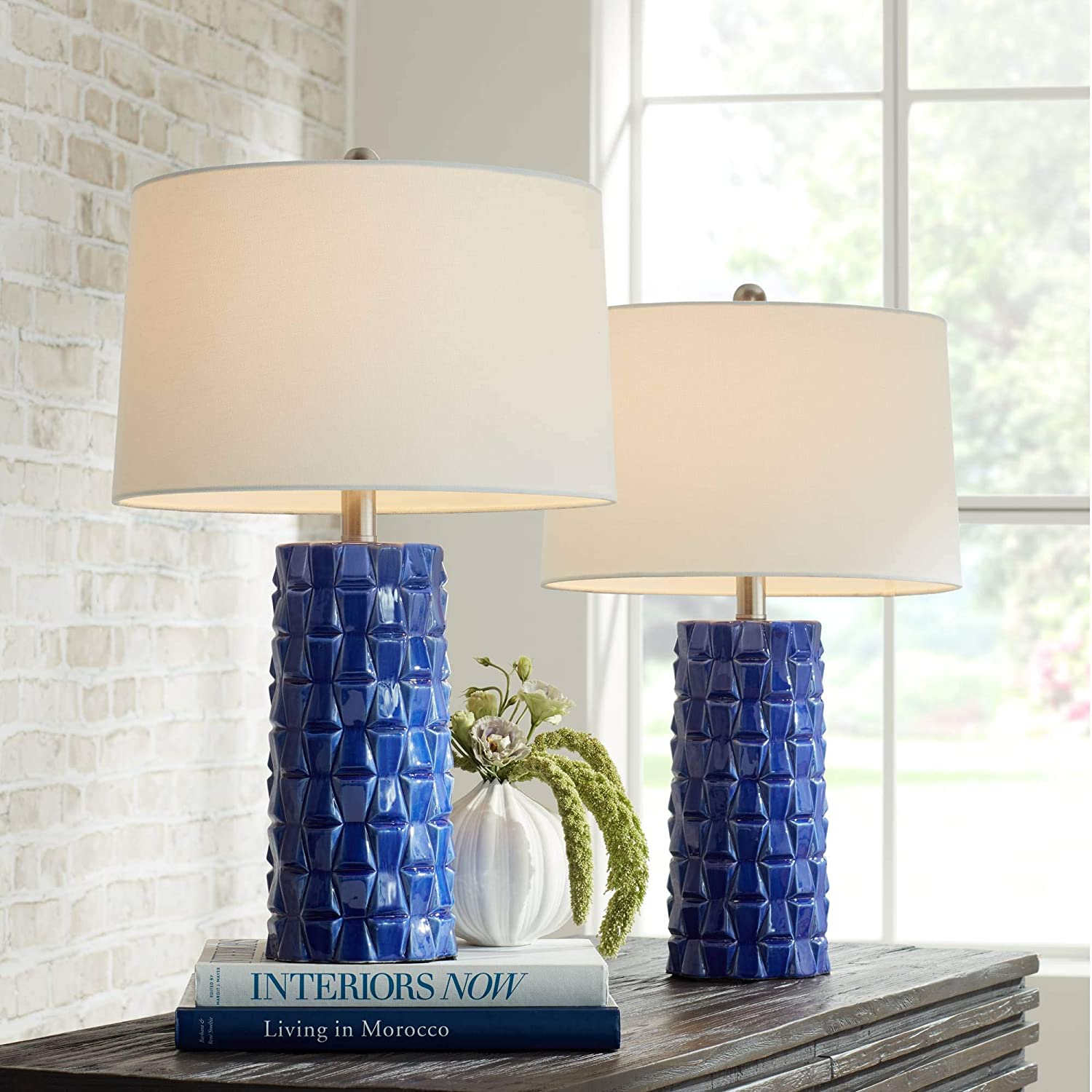 Rico Modern Table Lamps Set of 2 Textured Blue Ceramic Column White Drum Shade for Living Room Bedroom Bedside Nightstand Office Family - 360 Lighting
