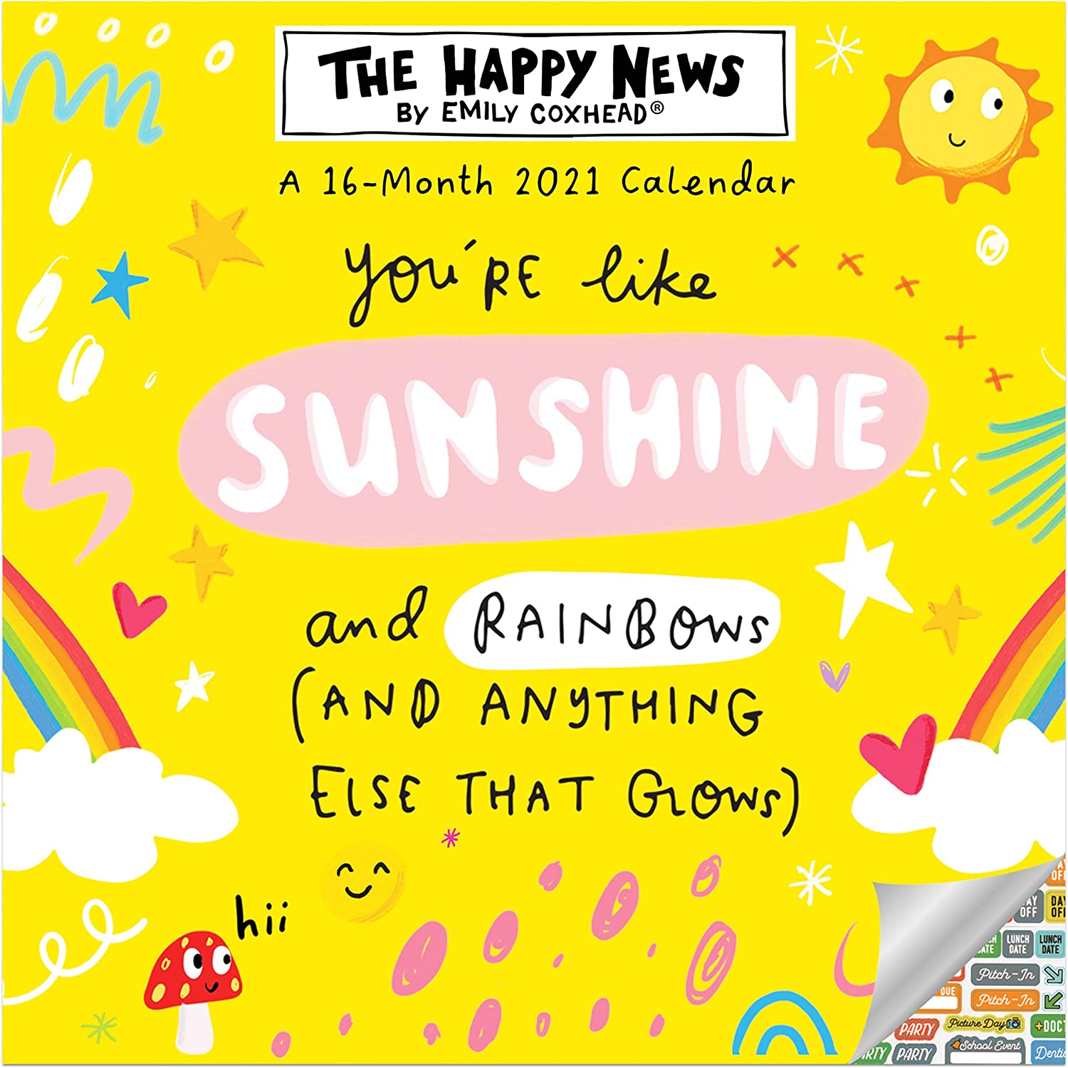 Happy Quotes Calendar 2021 Bundle - Deluxe 2021 The Happy News by Emily Coxhead Wall Calendar with Over 100 Calendar Stickers (Happy Quotes Gifts, Office Supplies)