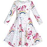 Sunny Fashion Girls Dress Unicorn Rainbow Long Sleeve Casual Dress Size 3-8 Years