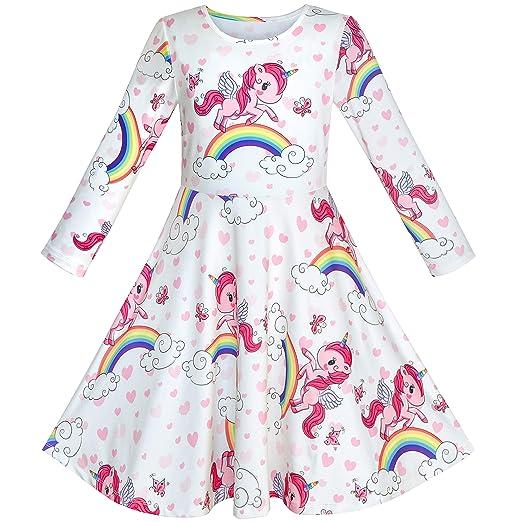 defec2ac8 Sunny Fashion Girls Dress Unicorn Rainbow Long Sleeve Casual Dress ...