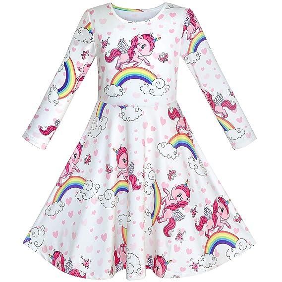 Sunny Fashion Vestido Para Niña Unicornio Arco Iris Manga