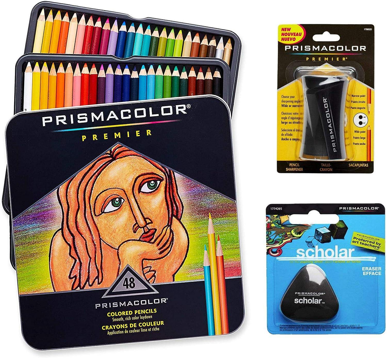 Set Prismacolor de arte de calidad. Pack de 48 lápices de colores de calidad, 1 sacapuntas de calidad y 1 goma de borrar escolar y sin látex: Amazon.es: Hogar