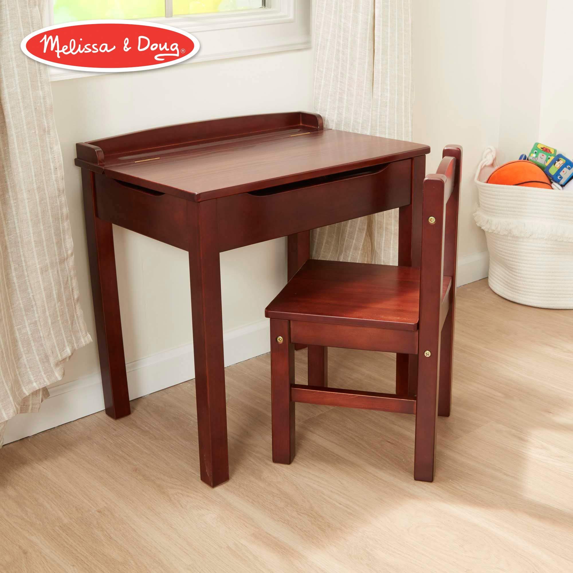 Melissa & Doug Child's Lift-Top Desk & Chair (Kids Furniture, Espresso, 2 Pieces, 16.1'' H x 23.6'' W x 23.2'' L) by Melissa & Doug