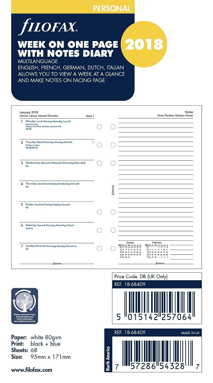Filofax–Agenda settimanale/Note 5lingua 2018diario 18-68409