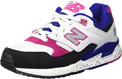 relajado Espinas Dominante  Amazon.com | New Balance Women's 530 90s Running White/Black-Pink-Blue  Sneakers 6 | Road Running