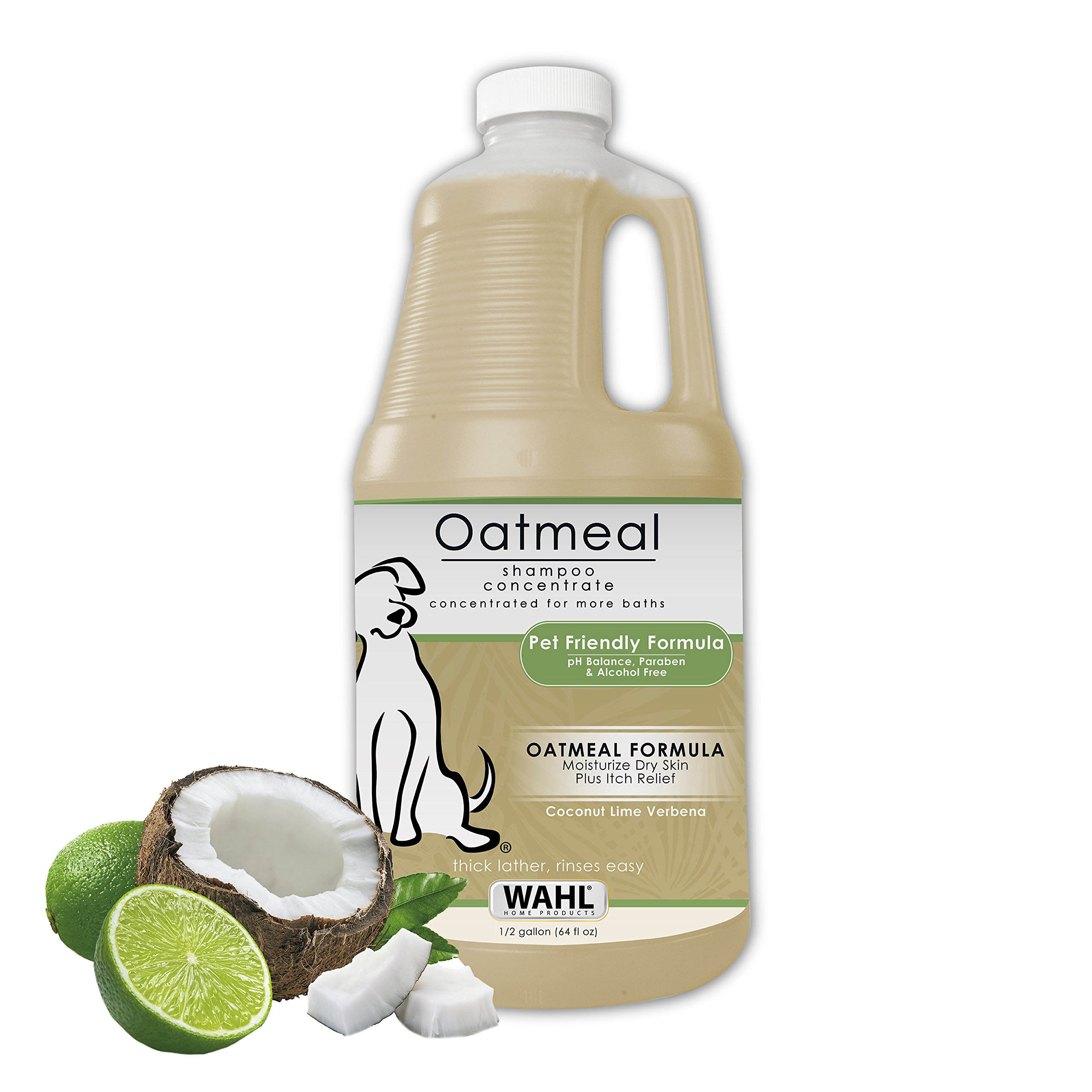 WAHL Dry Skin & Itch Relief Pet Shampoo for Dogs - Oatmeal Formula with Coconut Lime Verbena - 64 Oz