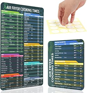 2pcs Air Fryer Magnetic Cheat Sheet Set, Air Fryer Accessories Cook Times Large Print, Air Fryer Magnetic Cheat Sheet Quick Reference Guide for Instant Pot Cheat Sheet Magnet Set