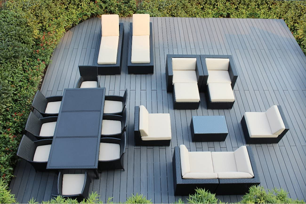 Ohana 20-Piece Outdoor Patio Furniture Sofa, Dining and Chaise Lounge Set, Black Wicker with Beige Cushions - Free Patio Cover