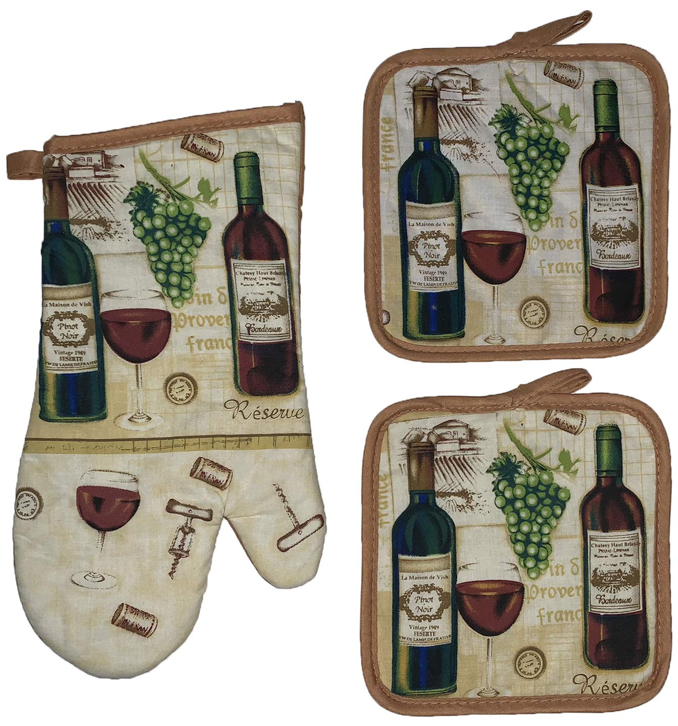 Set of 3, Printed Design Wine Collection Ultra Absorbent Kitchen Set, Includes: 2 Pot Holders and 1 Oven Mitt.