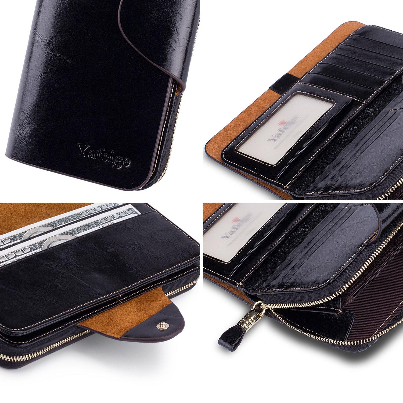 Yafeige Large Luxury Women's RFID Blocking Tri-fold Leather Wallet Zipper Ladies Clutch Purse(1-Waxed Black) by Yafeige (Image #7)