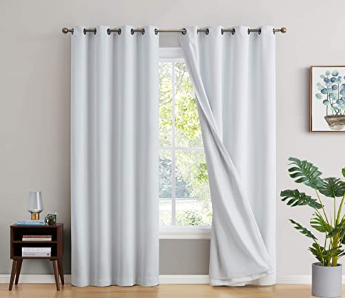 Best window curtain panel: HLC.ME 100 Complete Blackout Lined Drapery Thick Heavy Double Layer Thermal Insulated Energy Efficient Long Window Curtain Grommet Panels