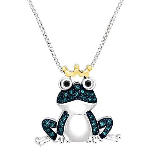 1 5 ct Blue Black Diamond Frog Pendant Necklace in Sterling Silver 14K Gold