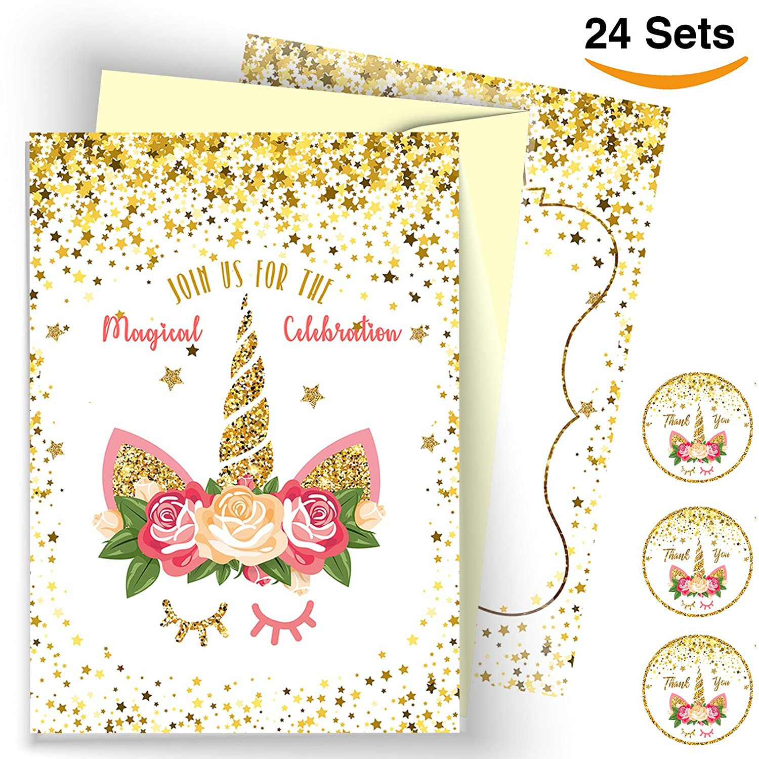 WAVEJOE Unicorn Invitation 24 Pack Cards Glitter Face, 24 Envelopes Double Sided, 24 Unicorn Round Stickers