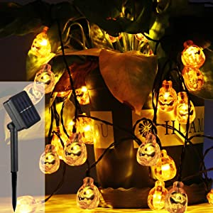 Solar Pumpkin String Lights,16.5ft 40 LED Outdoor Decorative Lights for Garden, Patio, Gate, Yard, Halloween Christmas Decoration (IP65 Waterproof, Warm White)