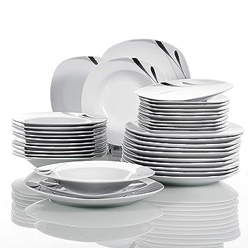 80d579c82111a VEWEET 36, série «Karla»,Set de Vaisselle pièces en Porcelaine Blanche,
