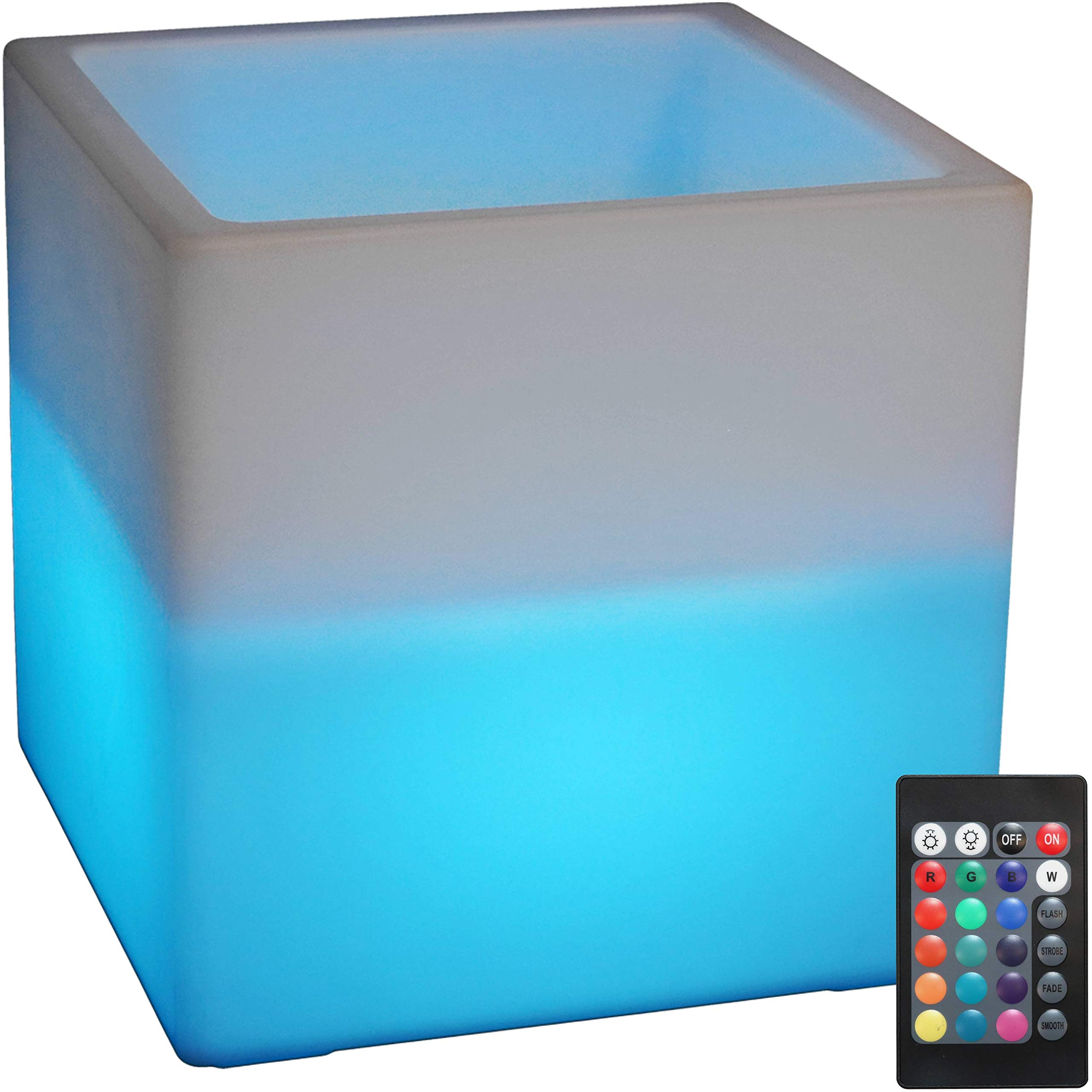 Sunnydaze Indoor/Outdoor LED Ice Bucket with Remote Control, Rechargeable Battery, RGB Color-Changing, 16-Inch Cube