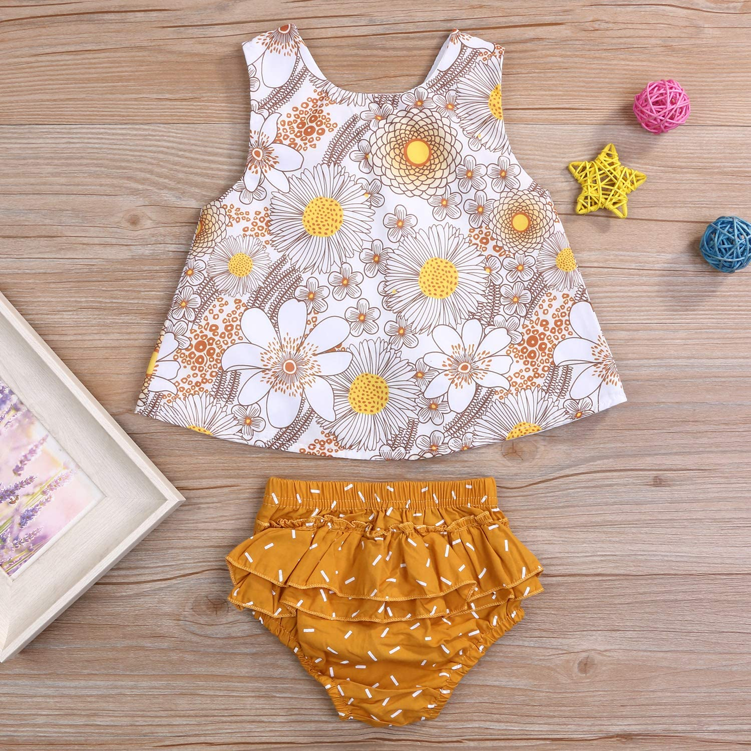 Ruffled Pants Shorts Set YOUNGER TREE Toddler Girls Clothes Outfit Floral T-Shirt Vest Tank Top