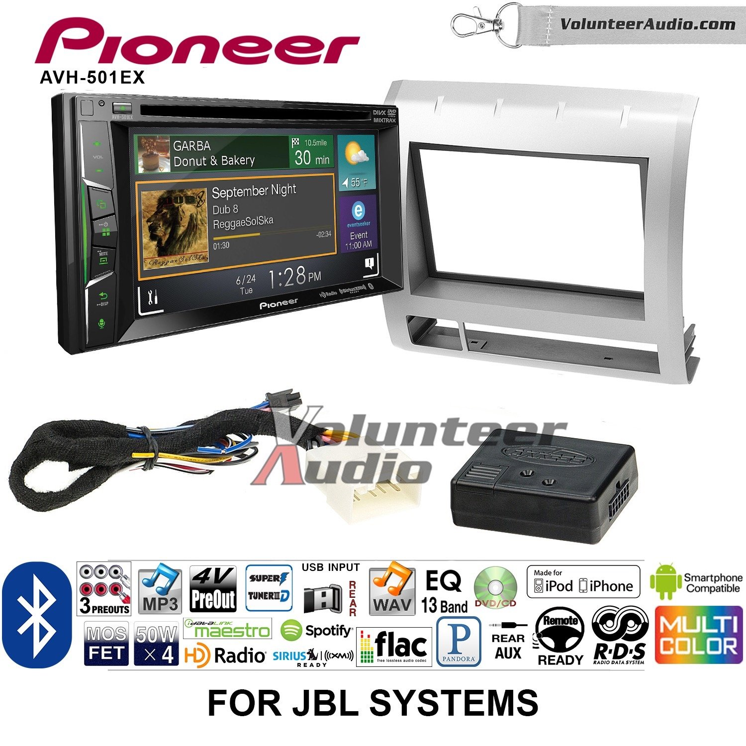 Volunteer Audio Pioneer AVH-501EX Double Din Radio Install Kit with DVD/CD Player Bluetooth Fits 2005-2011 Toyota Tacoma with Amplified System (Light Silver)