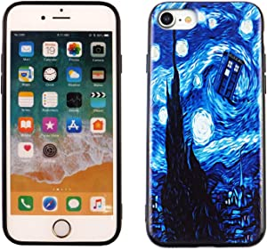 iPhone SE 2020 TPU Case CASEVEREST 3D Print Design Slim Fit Cover iPhone SE Who Police Box Starry Night iPhone 6S 7 8