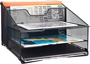 Samstar Mesh Desk File Organizer Letter Tray Holder, Desktop File Holder with 3 Paper Trays and 2 Vertical Upright Section, Black.