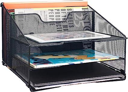 Vassoio portadocumenti da scrivania colore: nero in rete con 5 ripiani Samstar