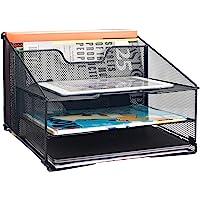 Samstar Mesh Desk File Organizer Letter Tray Holder, Desktop File Folder Holder with 3 Paper Trays and 2 Vertical…