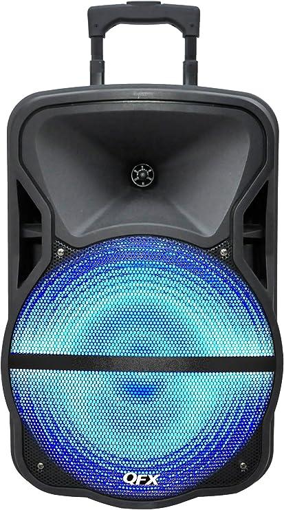 QFX PBX28 Bluetooth Portable PA Party Speaker 8 Inch FM USB SD RemoteControl Whe