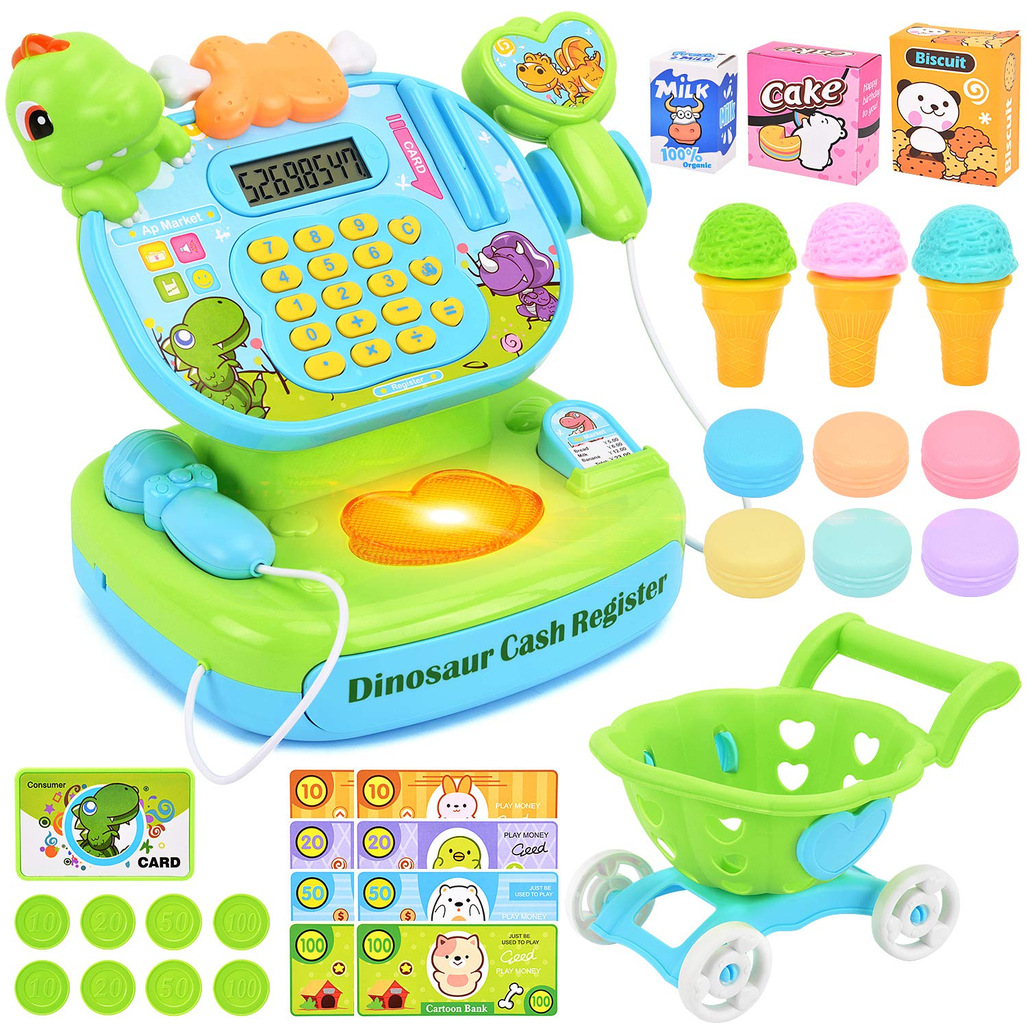 BATTOP Pretend Play Cash Register Toy with Scanner Microphone Play Money and Grocery Toy for Kids Interactive Learning Activity by BATTOP