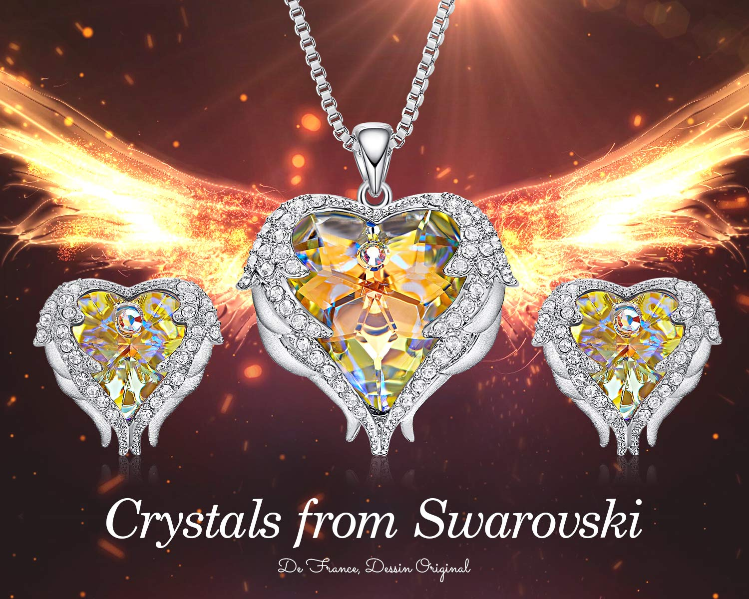 CDE Jewery for Women Swarosvki Pendant Necklaces Set with Silver Angel Wing Crystal Stud Earrings Birthsone Birthday Gifts for Women Girls