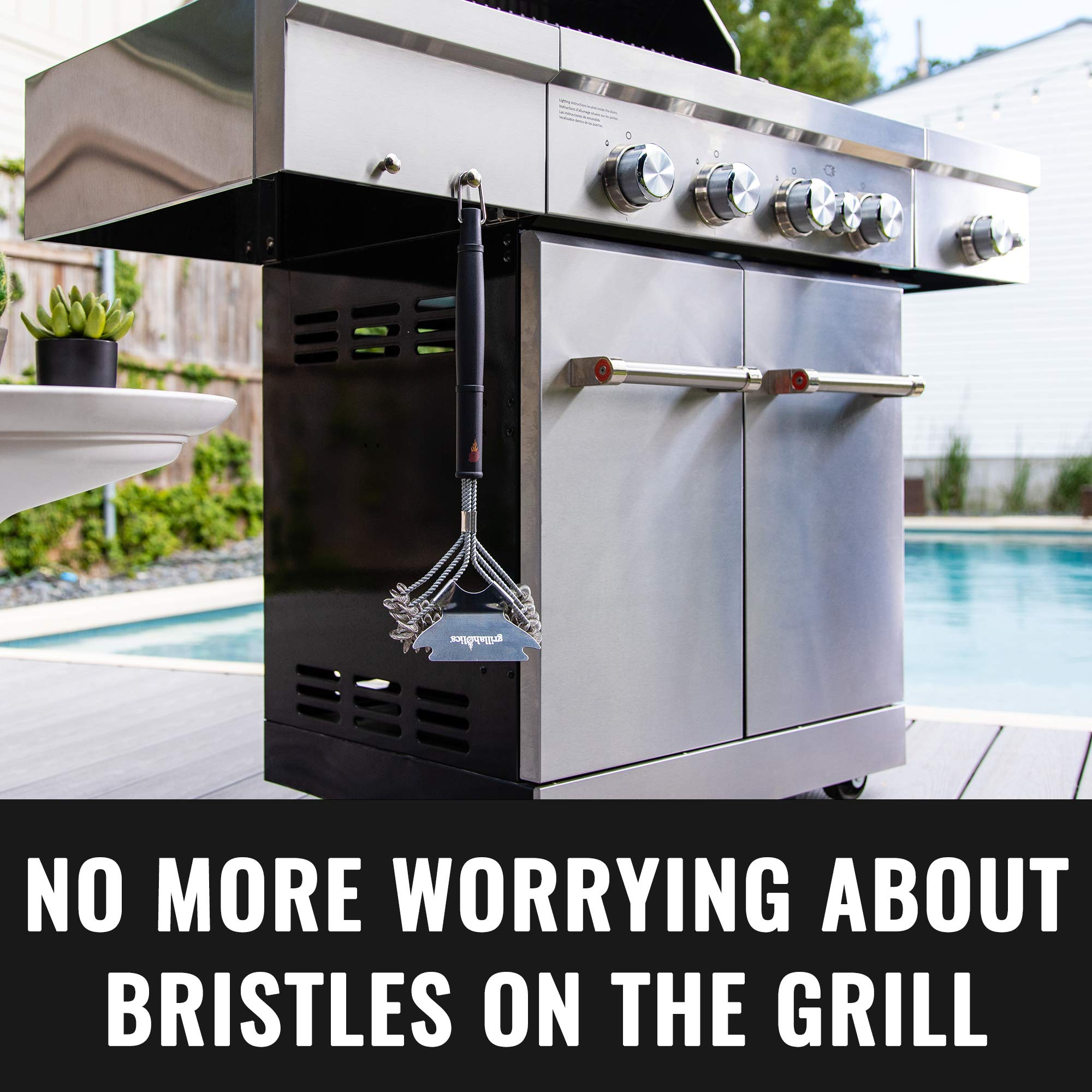 Grillaholics Grill Brush Bristle Free - Safe Grill Cleaning with No Wire Bristles - Professional Heavy Duty Stainless Steel Coils and Scraper - Lifetime Manufacturers Warranty by Grillaholics (Image #8)