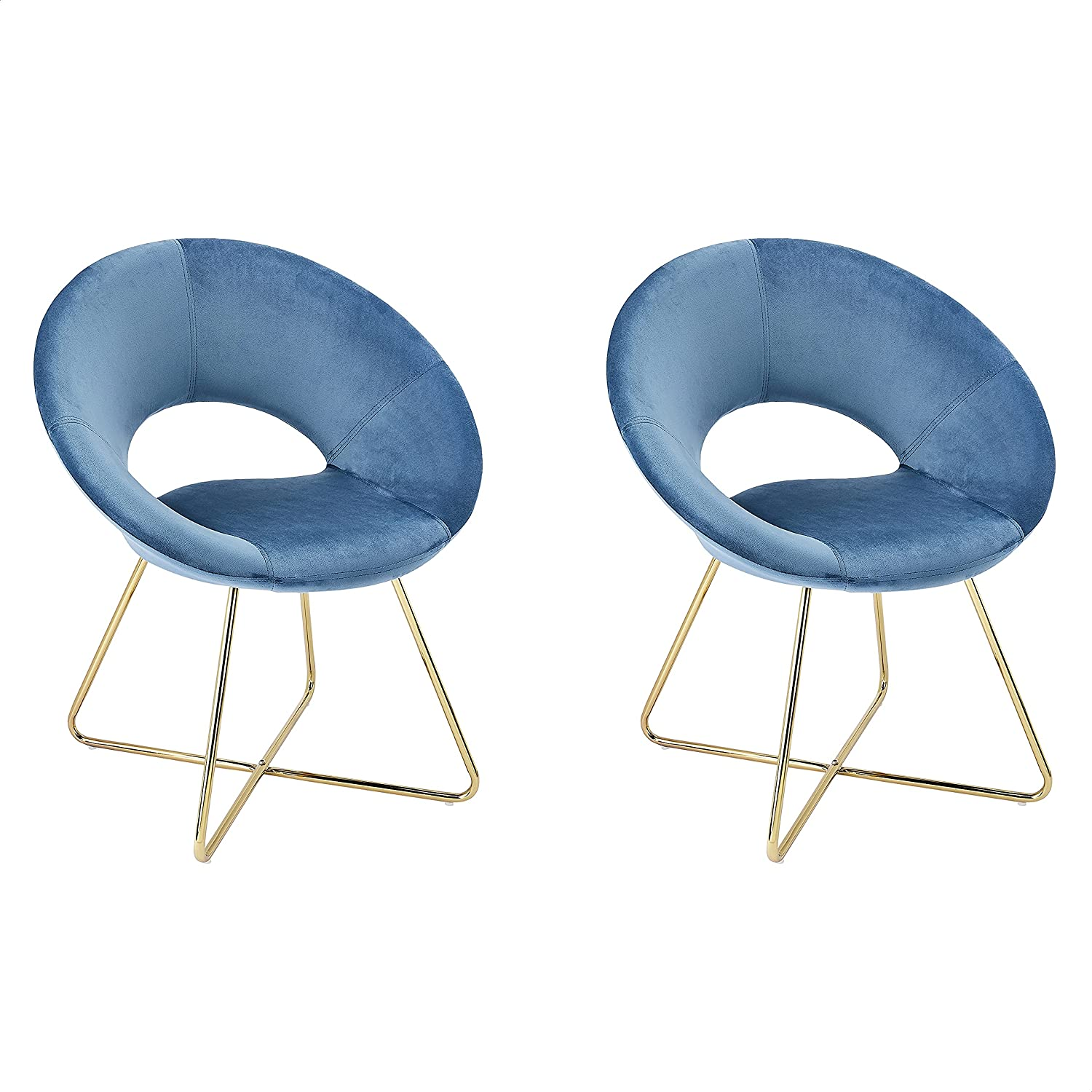 CangLong Modern Velvet Accent Chairs Upholstered Chairs Make-up Stool Home Office Guest Reception Chairs Dining Chair Leisure Lounge Chairs with Golden Legs Set of 2, Blue (KU-191338)