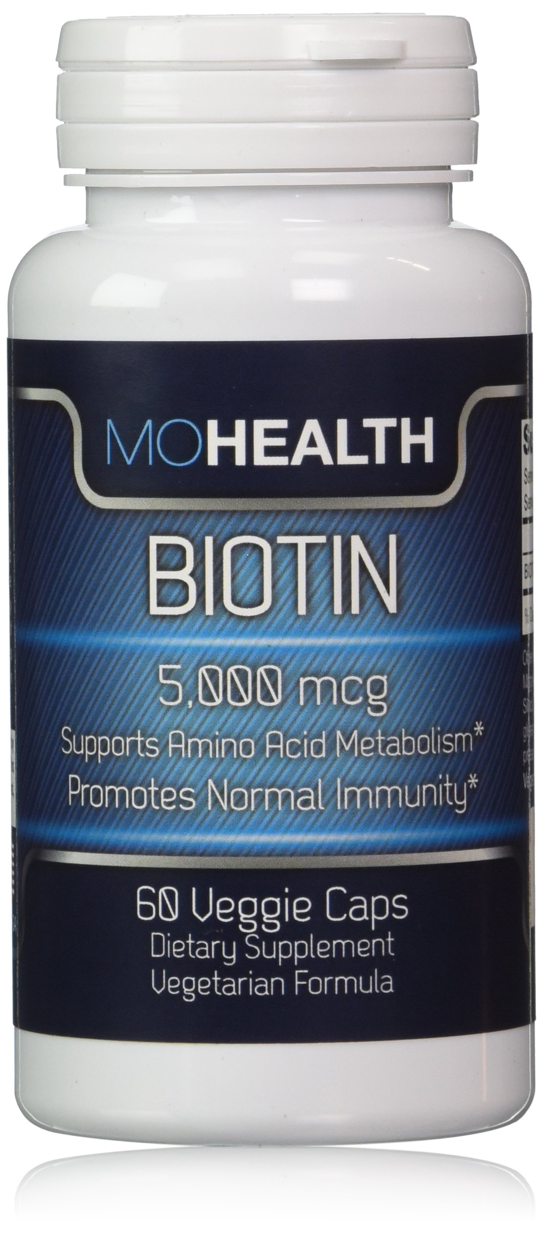 Biotin Veggie Caps ★Benefits Skin, Healthy Hair Growth and Strengthens Nails ★Vegan/Vegetarian Formula, High Potency 5,000 mcg ★ Money Back Guarantee